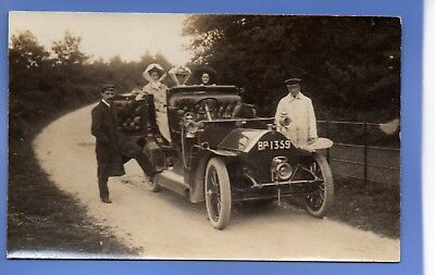 SUPERB RARE 1912c LADIES IN VINTAGE CAR WITH DRIVER RP PHOTO VINTAGE POSTCARD