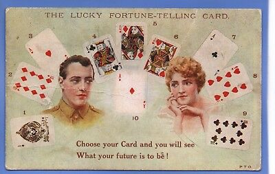 RARE 1914c ARMY LUCKY FORTUNE TELLER PLAYING CARDS E MACK NOVELTY POSTCARD