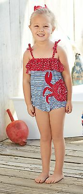 Mud Pie E7 Boathouse Baby Toddler Girl Crab One-Piece Swimsuit 1122124