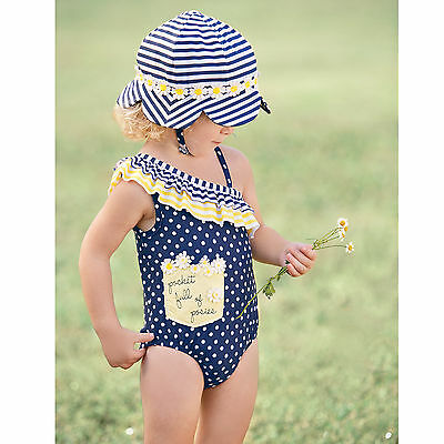 Mud Pie E7 Summer Baby Toddler Girl Daisy One-Piece Swimsuit 1122128