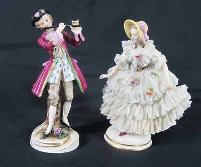 Antique Mixed (2) German Dresden Lace Porcelain & Ackermann & Fritze Figures yqz