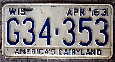 1963 Blue on White Wisconsin License Plate