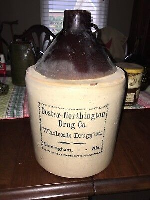 Antique Stoneware Jug Pottery Whiskey advertising jug Alabama