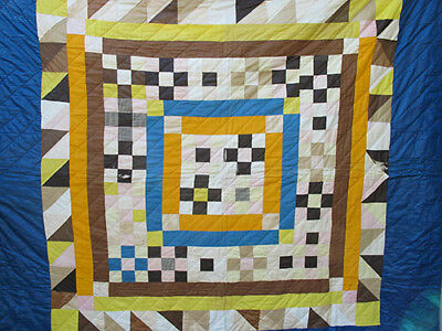 Antique Late 19th c Hand Quilted Block Variant Quilt Chintz Border 82''x80'' yqz