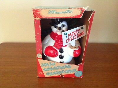 Vintage Lighted Royal? Snowman With Original Sign And Box