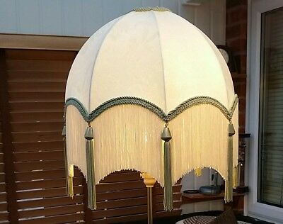 Downton Abbey stunning victorian parachute style Lampshade green white art deco