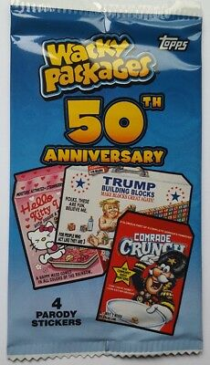 2017 Topps Wacky Packages 50th Anniversary Sticker Card Pack Look 4 Gold +Bonus