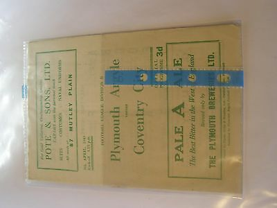 Plymouth Argyle v Coventry City Division 2 48/9 football programme