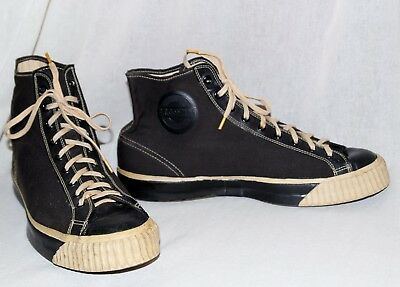 BF GOODRICH Vintage 30s-40s Canvas Hi Top Basketball Gym Shoes Sneakers 11 Rare