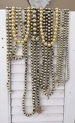 6 Strings VTG SILVER & GOLD MERCURY GLASS BEADED GARLAND Christmas Crafts 24+ Ft