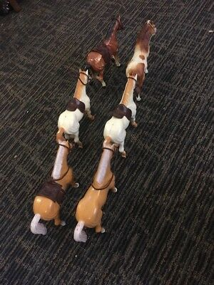 Lot of 6 Vintage  and Mixed Model Horses  Team Saddles.