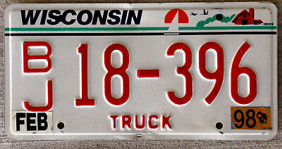 """Wisconsin """"Birds Over Barn with Sailboat"""" Truck License Plate with Red Lettering"""