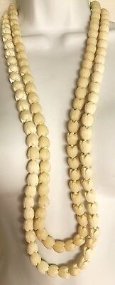 Big Vintage Plastic Celluloid Hawaiian Pikake Flower Bead Lei Necklace Lot Of 2
