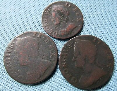Lot of 3 1700s Colonial Copper British Georgian Halfpenny Farthing 1745-1754