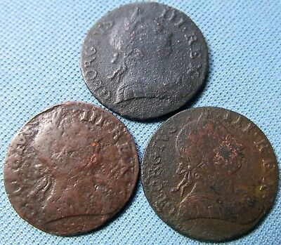 Lot of 3 1700s Colonial Copper British Georgian Halfpenny w/ NonRegal George III