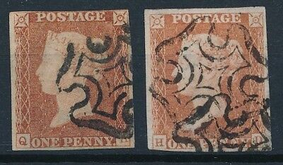 [54924] Great-Britain 1841 lot of 2 good Used Very Fine classical stamps