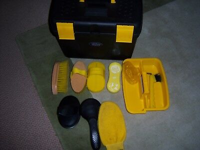 Horse Pony Shires Grooming Kit Box with brushes Black Yellow