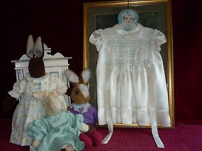 Gorgeous Ivory Satin Smocked 1940s Baby Dress Good Condition.