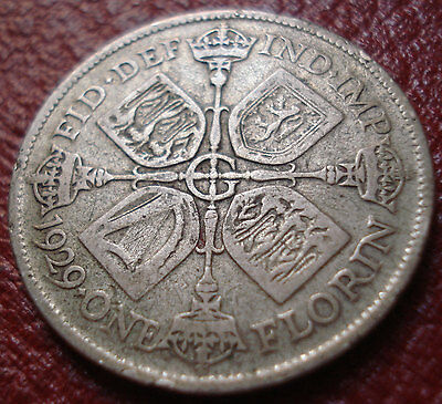1929 British Florin In Good-Vg Condition (.500 Silver)