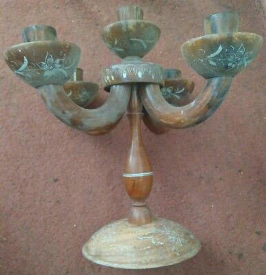 Vintage Wood Candelabra With Four Arms, A Center Post & Finely Painted Flowers