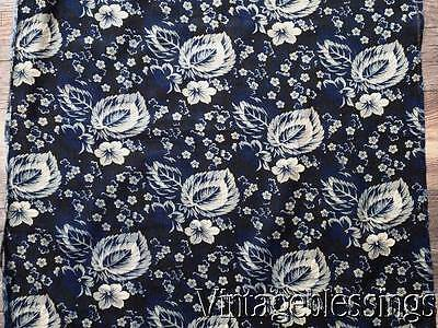 "2+yards ANTIQUE Early Early! Indigo Blue Cotton Fabric 25""wide"