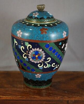 Vintage Japanese Cloisonne Lidded Jar with Panels of Blue and Black Florals