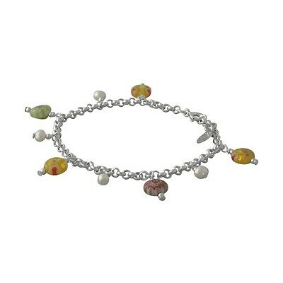 Brand New Solid Sterling Silver Millifiori Glass & Real Pearl Anam Cara Bracelet