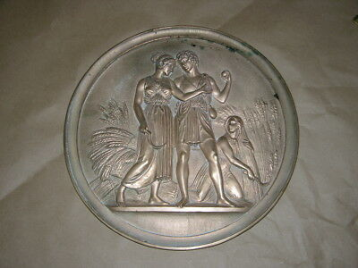 "Large Vintage Bronze High Relief Plaque of Egyptian People 13 1/2"" Diameter"