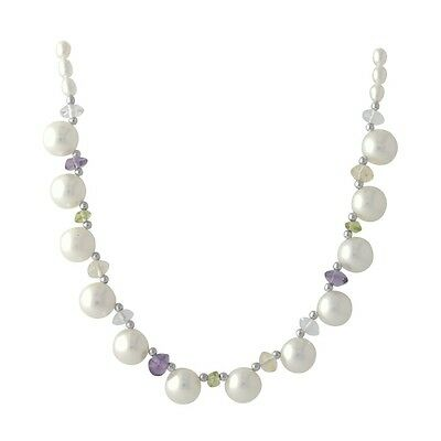 """Wholesale / Bridesmaid White Pearl & Multi Gem 16"""" Sterling 925 Silver Necklace"""