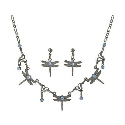 Wholesale / Gift Dragonfly Necklace & Earrings Set - Sapphire Blue Crystals