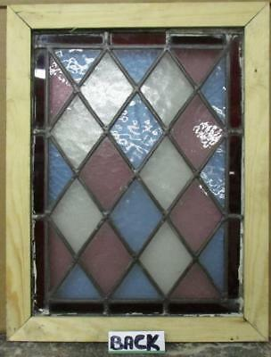 """OLD ENGLISH LEADED STAINED GLASS WINDOW Colorful Diamond 13.75"""" x 18"""""""