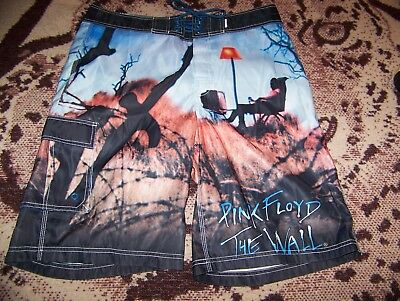 Vintage PINK FLOYD THE WALL Dragonfly Swim Suit Trunks Surf Board Shorts Sz 33