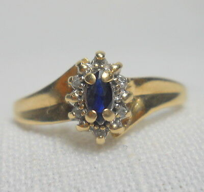 Vintage Estate 10K Gold Genuine SAPPHIRE and DIAMOND Ring - Size 7.75