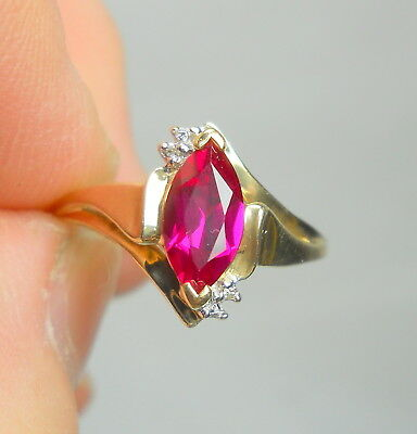 Vintage Estate 10K Gold Lab-Created RUBY and DIAMOND Ring - Size 9