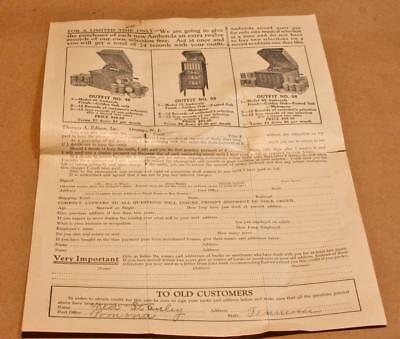 Several Pages Of Edison Amberol Cylinder Phonograph Papers Ephemera.