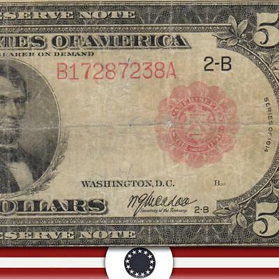 1914 $5 New York Federal Reserve Note RED SEAL Banknote Fr 833b