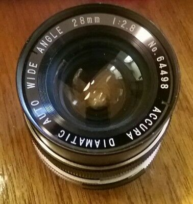 Vintage Accura 28mm 1:2.8 DIAMATIC Auto Wide Angle Lens Made In Japan