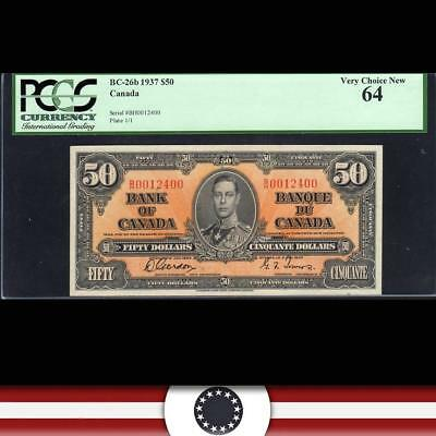 BRIGHT 1937 $50 BANK of CANADA Bank Note PCGS 64   BC-26b