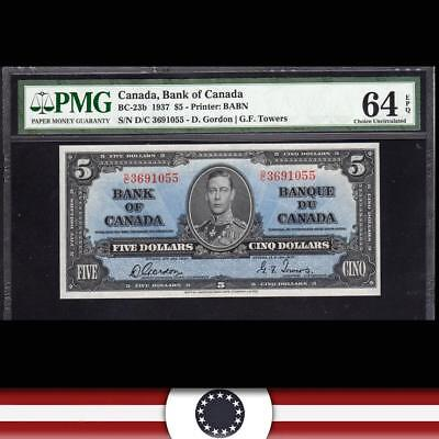 BRIGHT 1937 $5 BANK of CANADA Bank Note PMG 64 EPQ  BC-23b