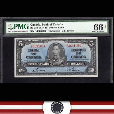 GEM 1937 $5 BANK of CANADA Bank Note PMG 66 EPQ  BC-23b