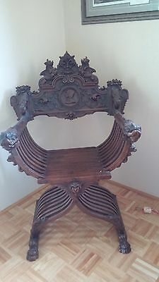 Hand Carved  Antique  Savonrola Chair.  Quality Carving in a unique piece