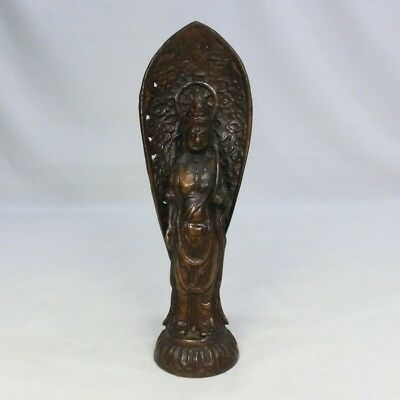 B120: Japanese copper ware KANNON statue Goddess of Mercy.