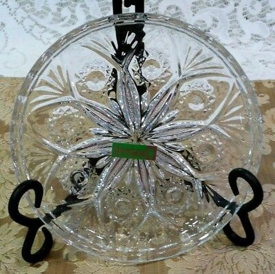 """3 VTG Poland """"IRENA"""" Lead Crystal Glass Dishes/Plates"""