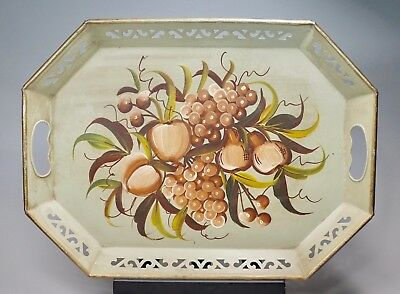 """Vintage Green Painted Metal Toleware Serving Tray Pierced Sides Fruit Theme 18"""""""