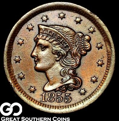 1855 Large Cent, Braided Hair, Sharp Strike, Nice Collector Coin!
