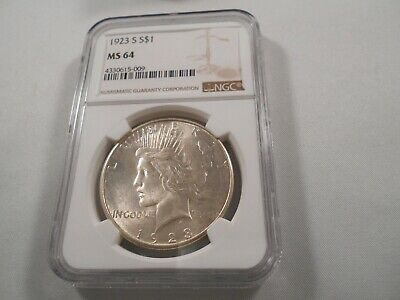 1923-S Peace Silver Dollar,  NGC MS-64 GEM , KEY DATE, White  & Lustrous
