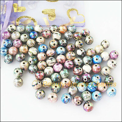 15Pcs Mixed Plastic Acrylic Flower Figure Round Ball Charms Spacer Beads 12mm