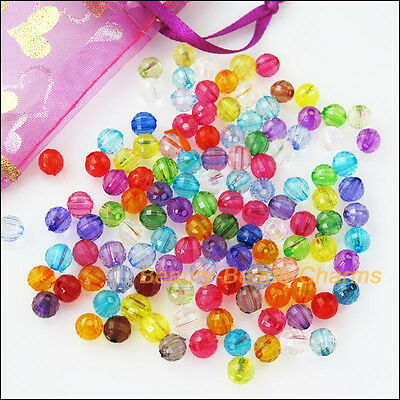 100Pcs Mixed Plastic Acrylic Clear Faceted Round Ball Charms Spacer Beads 8mm