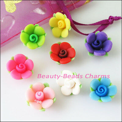 6Pcs Mixed Handmade Polymer Fimo Clay Flower Leaf Spacer Beads Charms 15mm