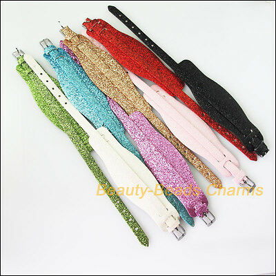 8Pc Mixed Artificial Leather Wristband Fit Slide Letter Bead/Charm Bracelet 20cm